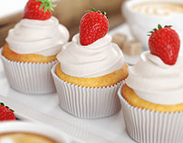 3D Model - Strawberry cupcakes