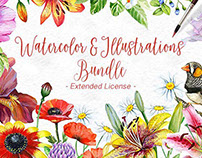 Watercolor Bicycle & Flowers / Graphic Design Bundle by