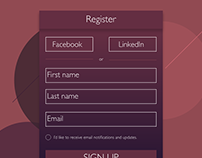 A sign up UI.