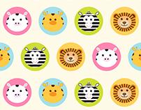 Baby seamless pattern - round animals