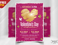 Valentine's Day Celebration Party Flyer PSD