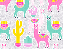 Llamas Pattern Illustration