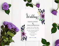 Floral Wedding Card and Mockup designing free download