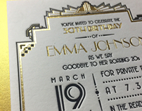 Art-deco party invites