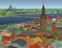 RIGA. Vector Panorama.