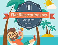 90 hipster style vector flat design illustrations