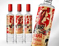 "Vodka ""ЧАЮ-ХАНА"". Label and bottle design."