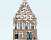 Illustration of 17th century Haarlem house