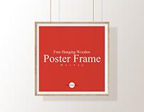 Free Hanging Wooden Poster Frame Mockup