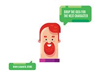 Digital Illustration Portrait, Flat Design Character