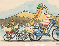 Pelican on bikes with his children