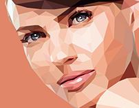 Low poly portrait woman