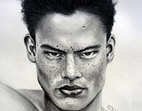 ASIAN BOY. Dibujo a lápiz