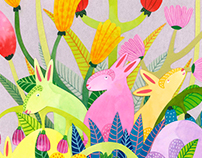 Bunnies and Flowers - Easter illustration 2016