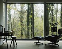 Autumn mood interior design. CGI.