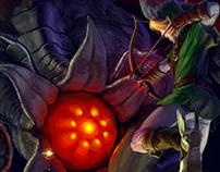Link vs Ocarina of Time bosses-Fan Art