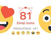 81 vector Emoji icons - Emojilicious v 0.1