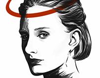 Black & White Digital Portrait of a random woman