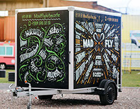 The Mad fly trailer hand lettering