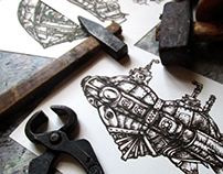 Steampunk heart - a series of hand-drawn illustrations