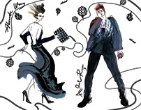 Fashion illustrations in Au Pont Rouge. Alexander Wang.
