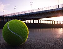 Tennis ball under bridge