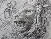 LEW ,CZARNA KREDKA ,crayon black drawing.