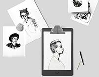 Portraits | Ballpoint pen illustrations