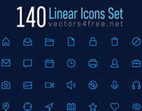 140 Linear Icons vector set - download free