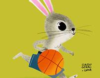 Rabbit play basketball