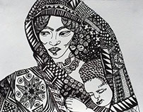 Motherhood, pen and ink