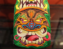 Hand-Painted Tiki Skateboard Deck
