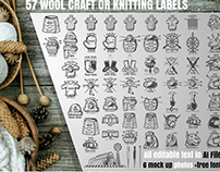 Big set of wool craft and knitting labels