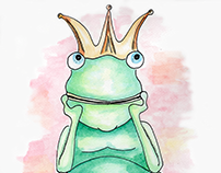 King Frog - Ink and Watercolor Illustration