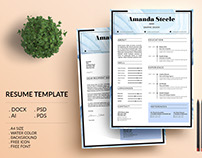 Water color Resume Template / CV Template/ Letterhead