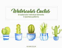 Cactus watercolor set , indigo Cacti and Succulents set