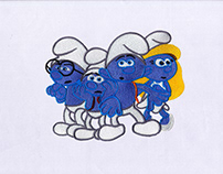 ADORABLE SMURFS AND SMURFETTE EMBROIDERY DESIGN