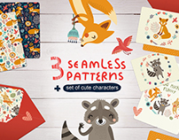 Set of seamless patterns and wild animals