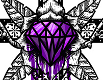 Cross Tattoo, Purple diamond