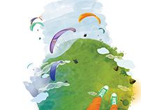 Illustrations for a flight adventure website