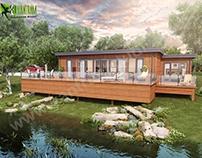 Lodge Exterior Rendering with Natural Landscape & Pond