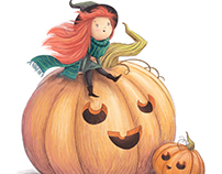 Little Witch and Halloween Pumpkins Illustration