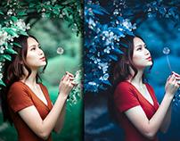 Green To blue Leaf Photoshop 2021