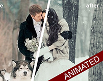 Animated snow gif in Photoshop psd template