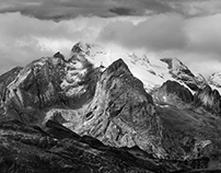 Black&white. Dolomites mountains.