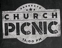 Rustic Chalkboard Church Picnic Flyer Print Template