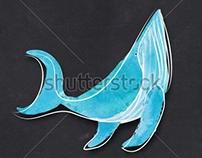 Postcard blue whales