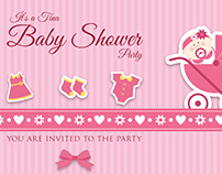Baby Shower Party Postcard Template Vo.l2