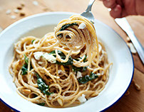 Spaghetti with lemon, feta and basil.