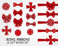 Set of vector realistic red bows, ribbons and giftboxes